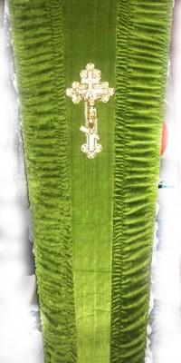 Гроб оливковый - велюр