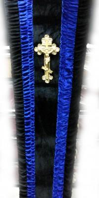 Гроб комбинированный синий - велюр